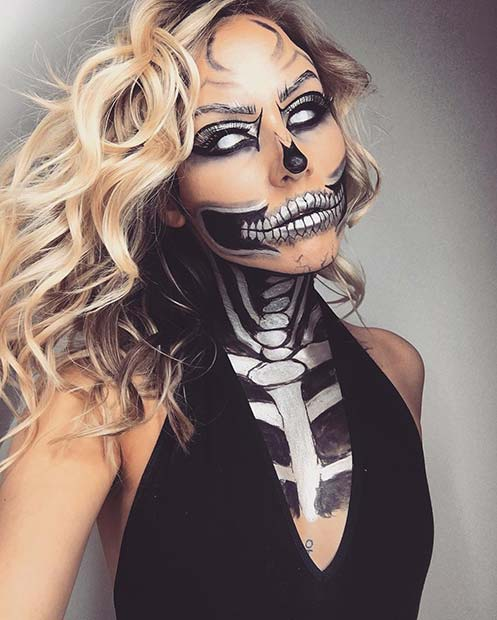 Skeleton Face Paint For Hallwoeen