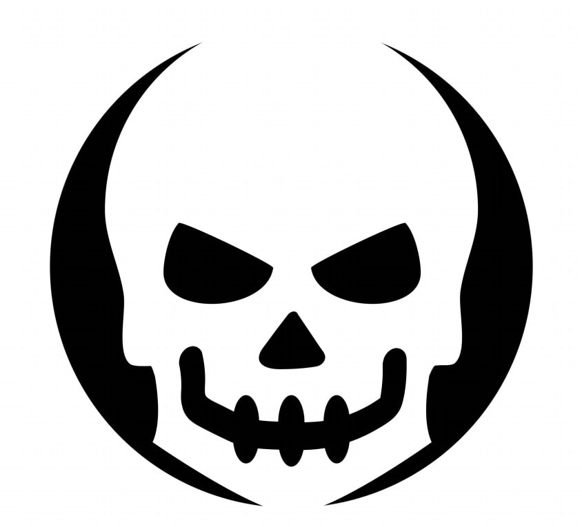 Skull Pumpkin Carving Template Stencil