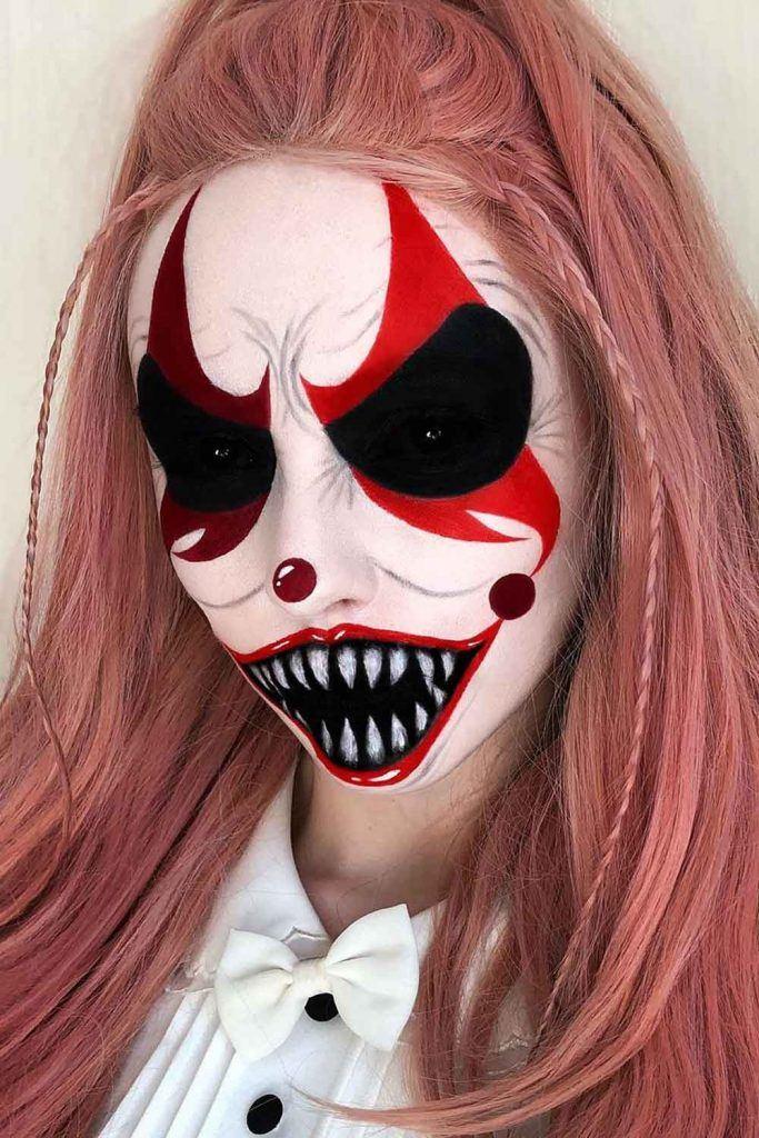 Crazy Clown Makeup Halloween Idea
