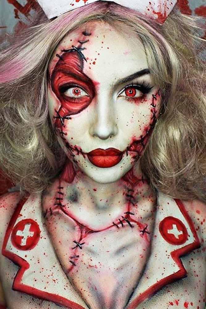 Crazy Nurse Makeup Halloween
