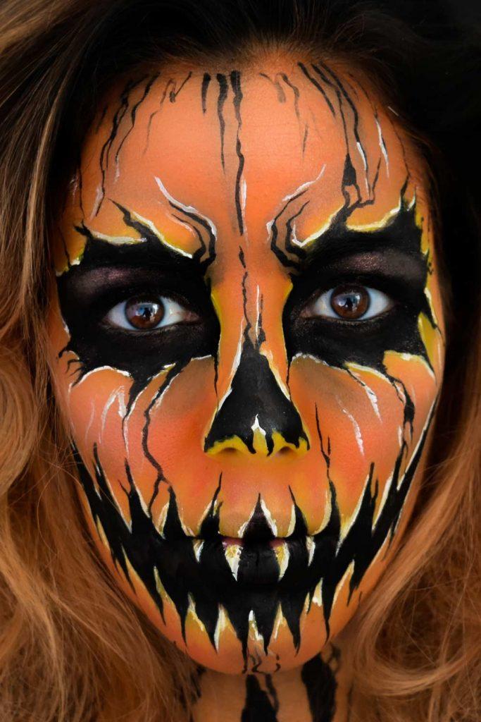 Crazy Pumpkin Makeup Halloween Idea
