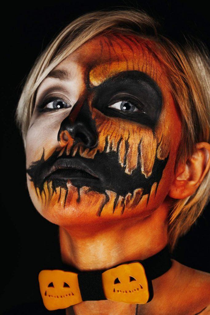 Crazy Pumpkin Makeup Halloween