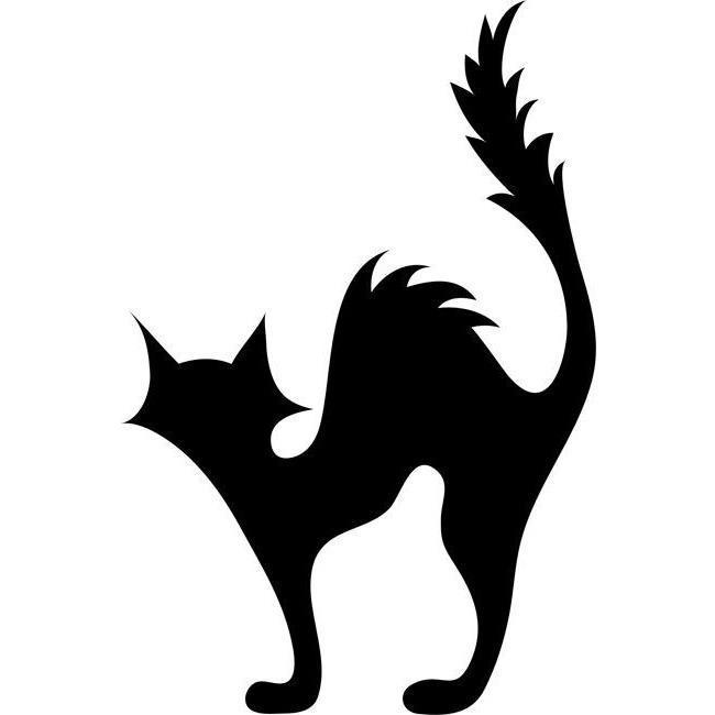 Black Cat Pumpkin Carving Template Stencil