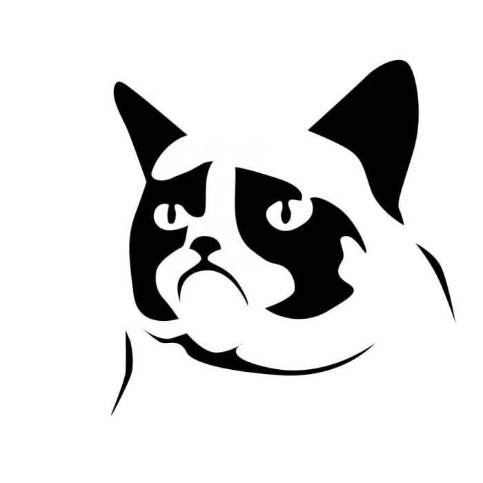 Grumpy Cat Halloween Cat Carving Stencil