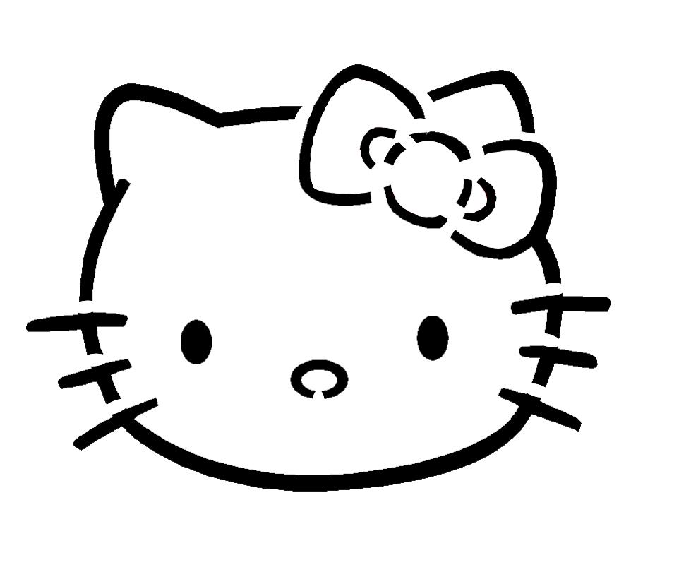 Hello Kitty Face Pumpkin Stencil