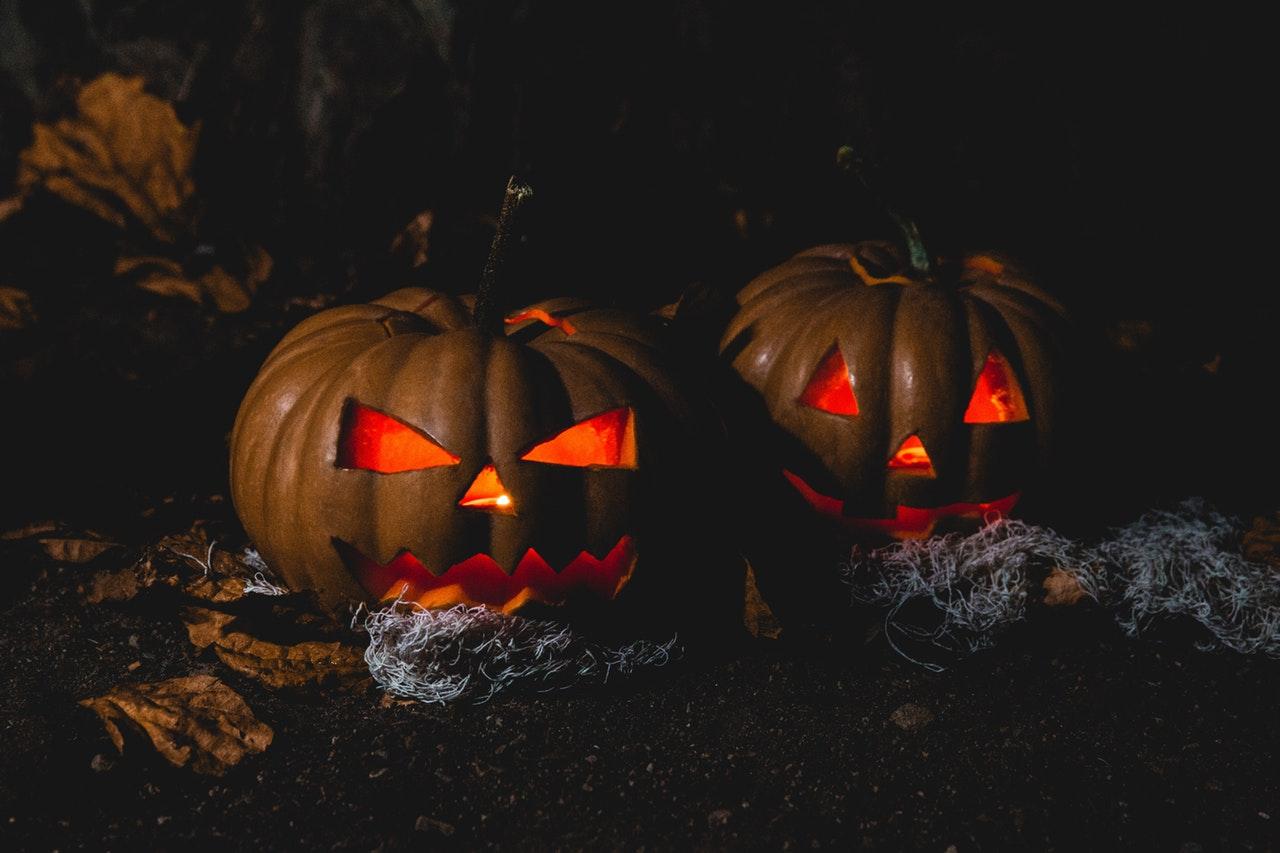Close Up Creepy Dark Pumpkins